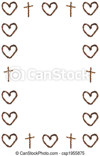 Stock Illustrations of Hearts and Crosses Border - Border created by ...