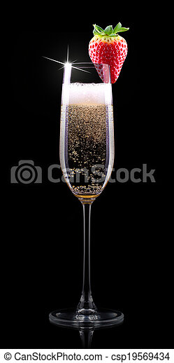 glass of champagne with tasty red strawberry isolated