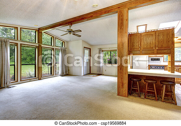 Pictures Of Empty Living Room In Farm House High Ceiling