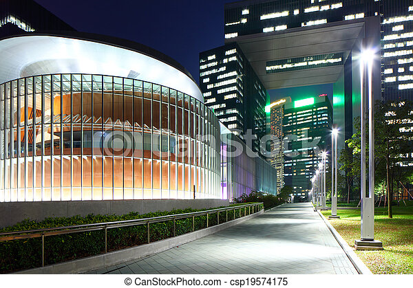 Government headquarter in Hong Kong at night - csp19574175
