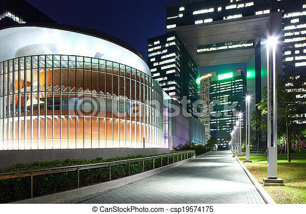 Government headquarter in Hong Kong at night - csp19574175