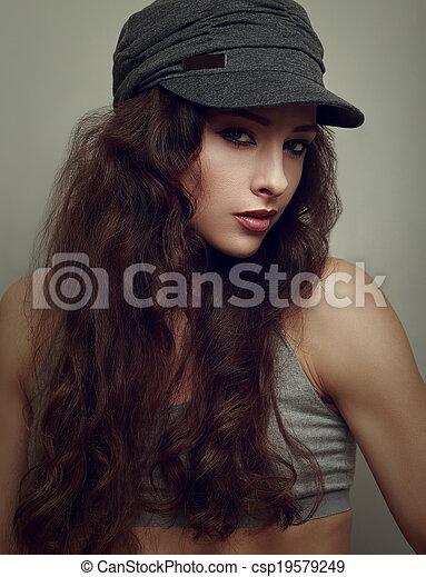 frau, junger, weinlese, cap., grau, hiphop, closeup, poppig, porträt - csp19579249