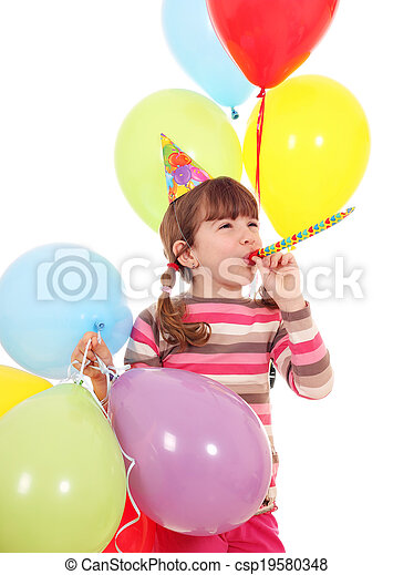 happy little girl with trumpet hat and balloons birthday party - csp19580348