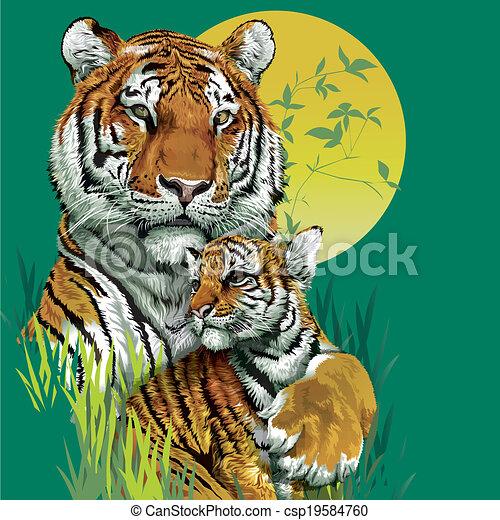 Tiger family drawing - photo#11