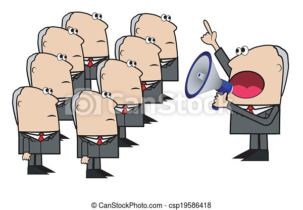 Vector Clip Art of business man yells in a megaphone to ...