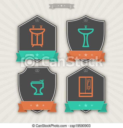 Vector limpieza art culos stock de ilustracion for Utensilios cuarto de bano