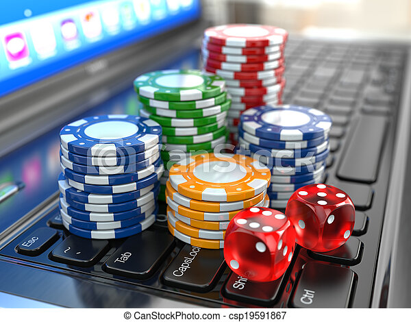Virtual casino. Online gambling. Laptop with dice and chips. - csp19591867