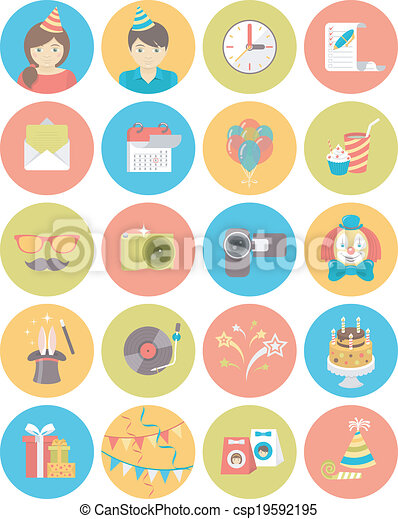 Kids Birthday Party Round Icons - csp19592195