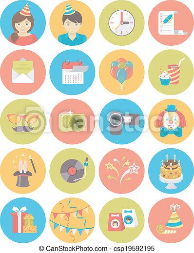 Kids Birthday Party Round Icons - csp19592195