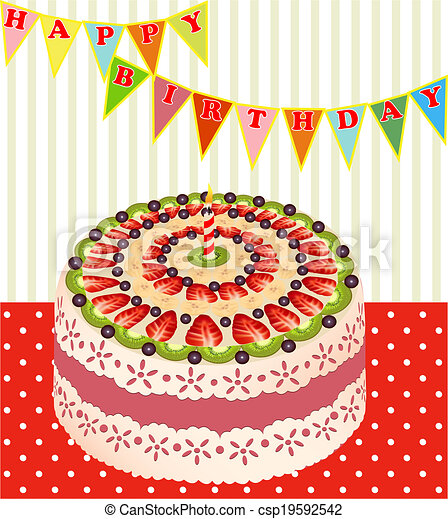 of a birthday cake with kiwi and strawberries - csp19592542
