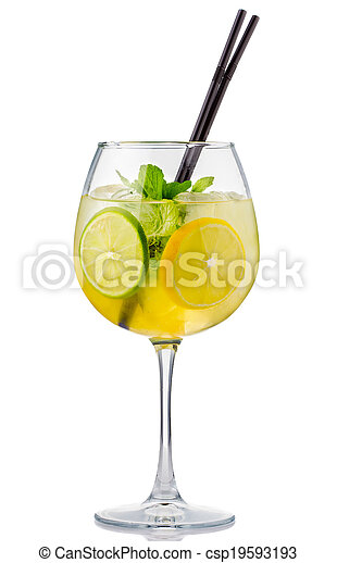 Alcohol cocktail with fresh mint and fruits isolated - csp19593193