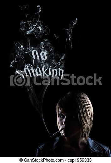young women smokes and in the smoke appears - csp1959333