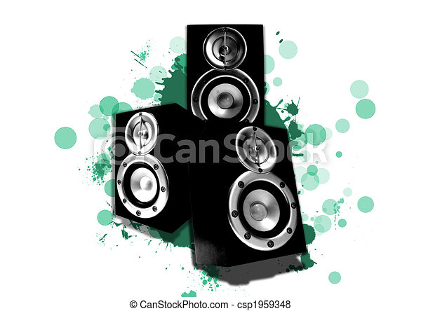 three loudspeaker with cyan circles and green splashes - csp1959348