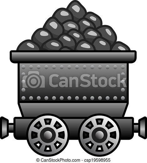 Clipart Vector of Iron mine cart with coil for your designs ...