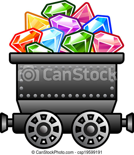 EPS Vectors of Iron mine cart with diamonds for your designs. csp19599191 - Search ...
