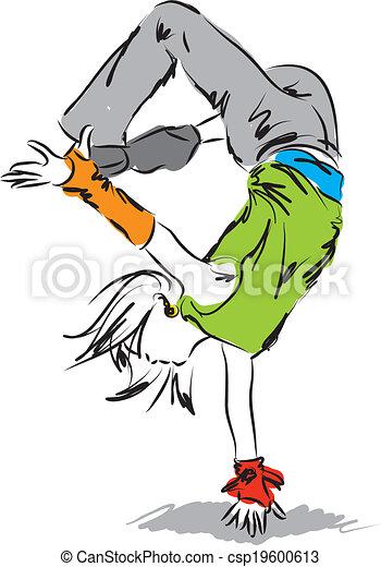 Vector Clip Art of hip-hop dancer illustration A csp19600613 ...