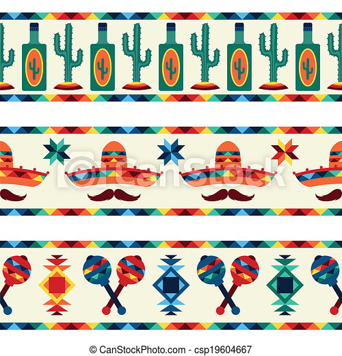 Mexican seamless borders with icons in native style. - csp19604667