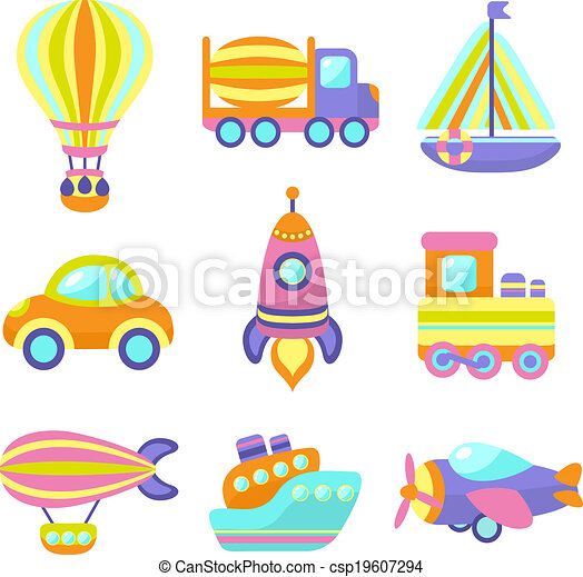 Transport Toys Icons Set - csp19607294