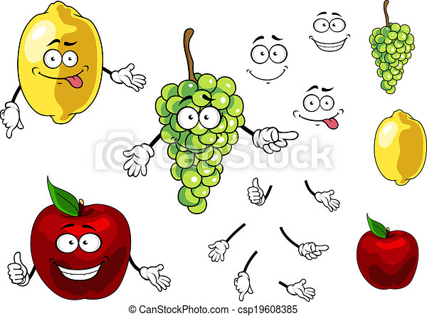 Vector de uva, manzana, frutas, limón, sonriente, caricatura ...