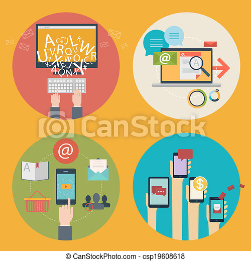 Vector set of flat design concept icons for blogging, web design, seo, social media. Business concepts - online shopping, education, learning, advertising, development, communications, analytics, mobile services and apps - csp19608618