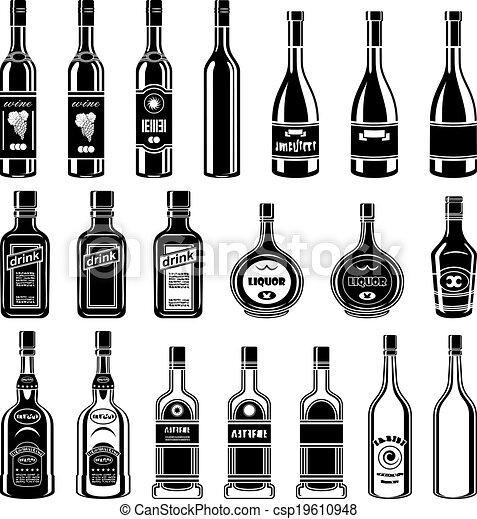 EPS Vektor von satz, alkohol, Flaschen - satz, von, alkohol, Flaschen ...
