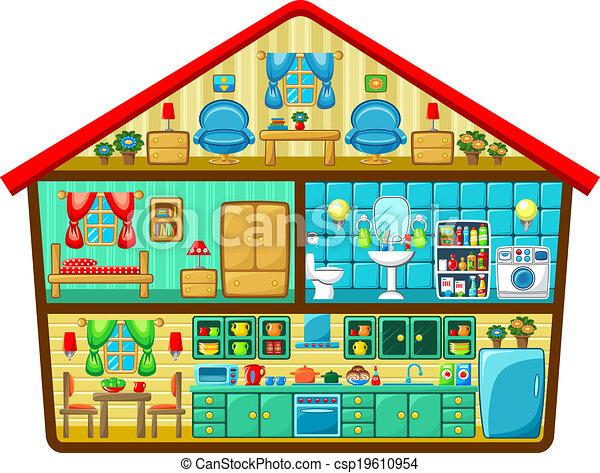 Vecteur clipart de dessin anim maison coupure vecteur for Plan out my room