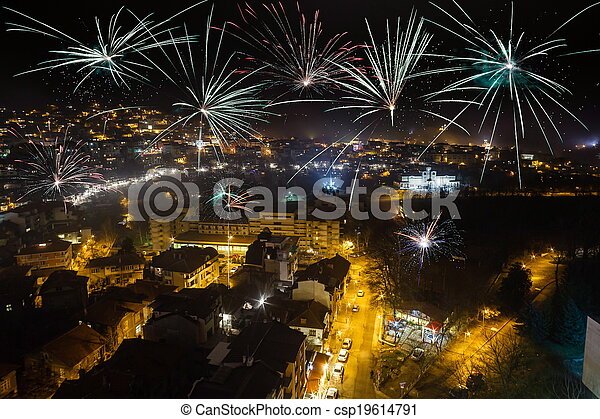 Firework over city Veliko Tarnovo at night