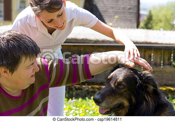animal assisted therapy with a dog - csp19614811