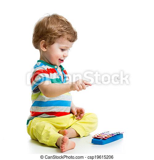 baby, reizend, spielende , musikalisches, spielzeuge - csp19615206