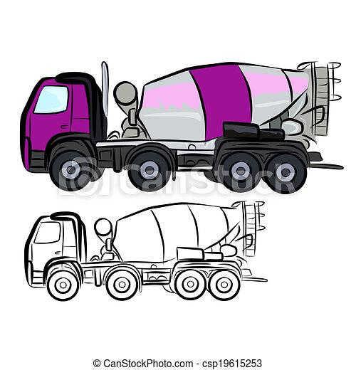 Clipart Vector of Concrete Truck Mixer - Vector illustration ...
