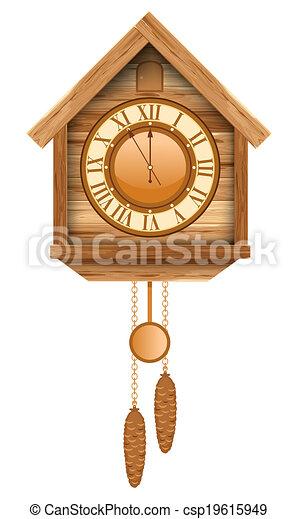 Vecteur Eps De Coucou Horloge Vendange Bois Coucou