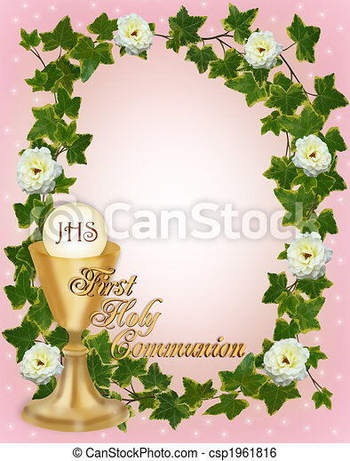 First Holy Communion Invitation Border  - csp1961816