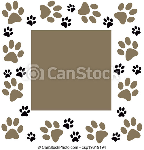 Animal paws  monochrome frame - csp19619194