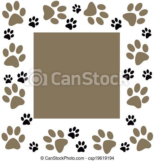 Animal paws  monochrome frame - csp19619194