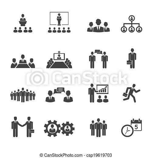 Business People Meetings And Conferences Icons 19619703