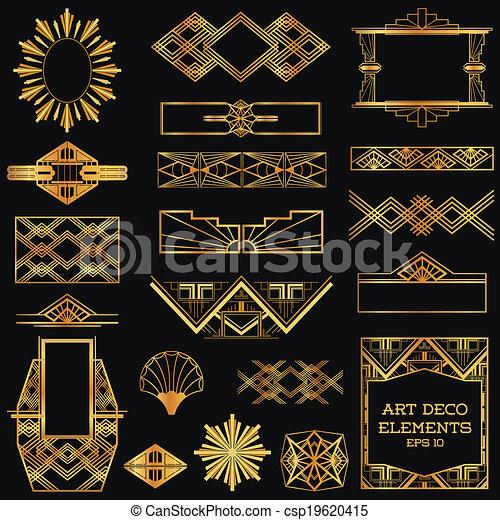 Art Deco Vintage Frames and Design Elements - in vector - csp19620415