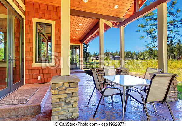 image de arri re cour patio secteur brun orange prendre parti csp19620771 recherchez. Black Bedroom Furniture Sets. Home Design Ideas