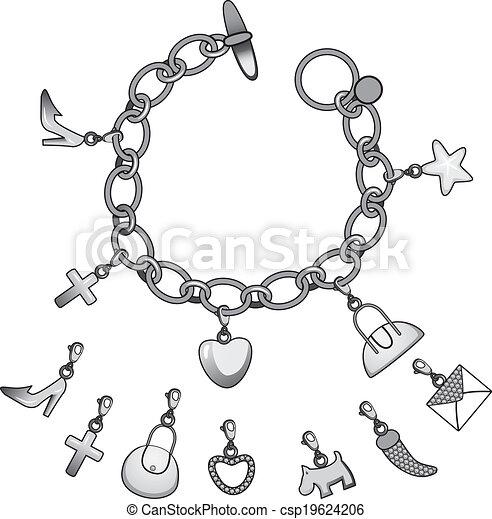 Armband clipart  Vektor Clipart von armband, silber, charme - Illustration, von ...