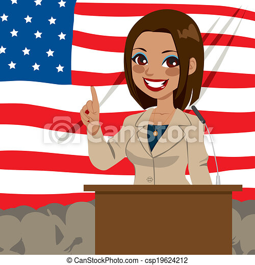 African American Politician Woman Flag - csp19624212