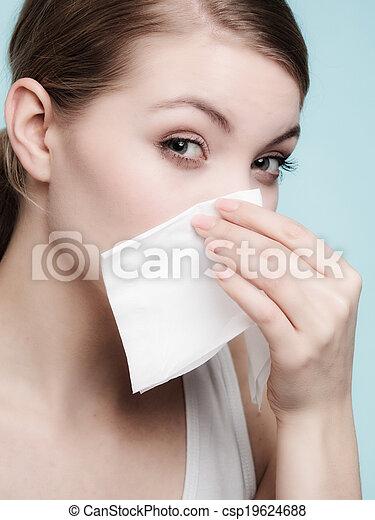 Flu allergy. Sick girl sneezing in tissue. Health - csp19624688