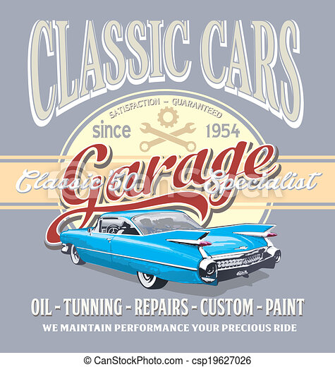 Vector Illustration Of Classic Car Garage Vintage Classic Car