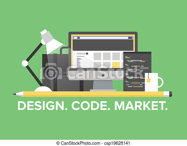 Website programming management flat illustration - csp19628141