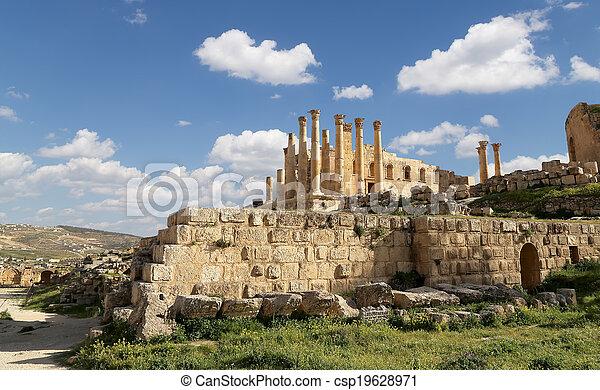 Stock Photo - Temple of Zeus, Jordanian city of Jerash (Gerasa of ...