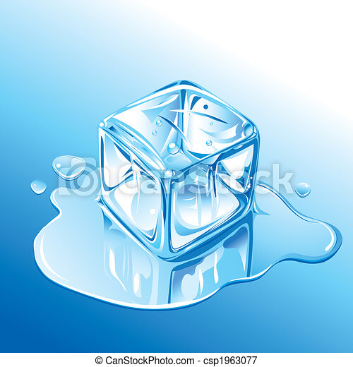 Melting Blue Ice Cube - csp1963077