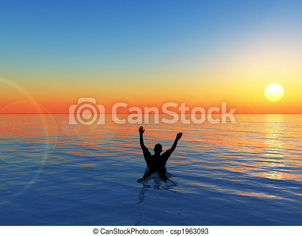 Man Drowning - csp1963093