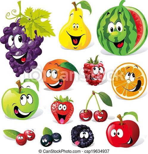 Vettori di divertente frutta cartone animato isolato for Clipart frutta