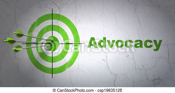 Law concept: target and Advocacy on wall background - csp19635128