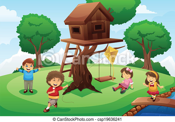 Kids Tree House Drawing eps vector of kids playing around tree house - a vector