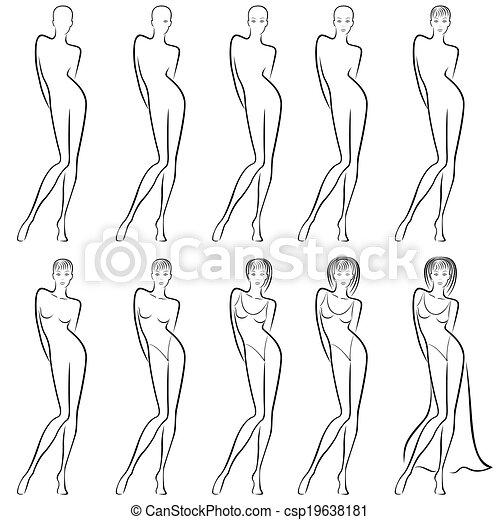 vecteur s quence cr ation beau femme contour banque d 39 illustrations illustrations. Black Bedroom Furniture Sets. Home Design Ideas
