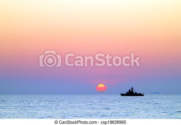 sea ship at sunset - csp19638965